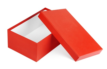 Open red shoe box isolated on white with clipping path photo