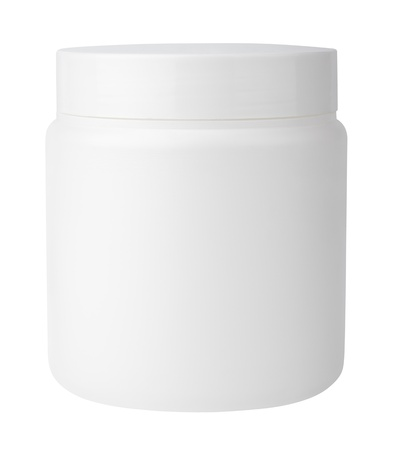 Jar for cosmetic cream or gel isolated on white with clipping path photo