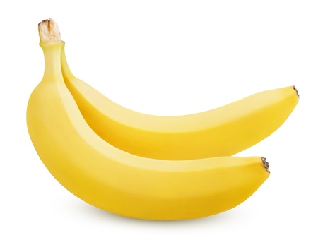 banana skin: Two ripe bananas isolated on white background with clipping path