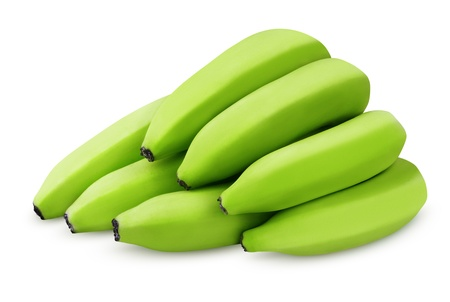 banana skin: Bunch of green bananas isolated on white background with clipping path Stock Photo
