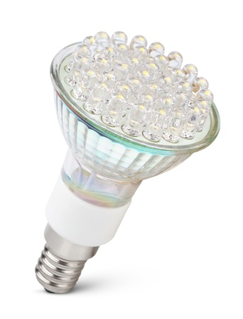 Closeup of newest LED light bulb isolated on white with clipping path photo