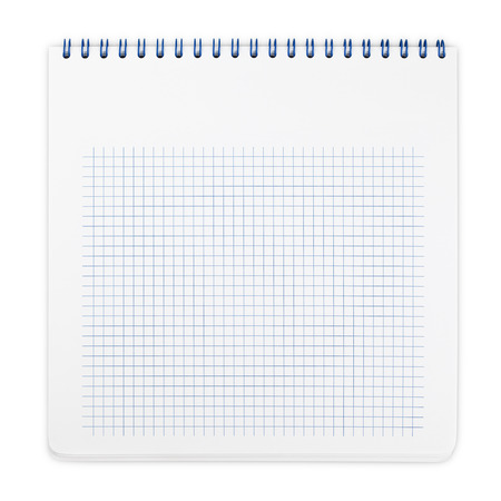 Spiral notebook with squared paper sheets isolated on white photo