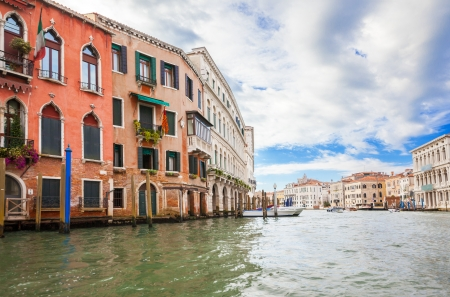 venezia: View from the boat on houses  Grand canal, Venice, Italy Stock Photo