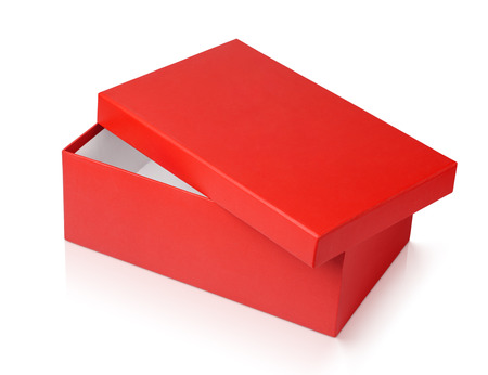 Open red shoe box isolated on white  photo