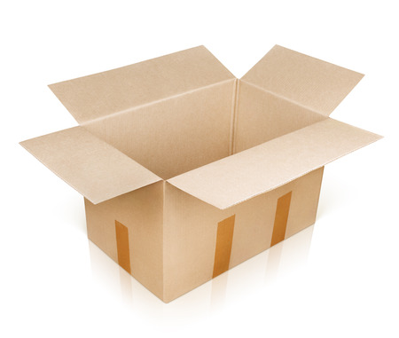 scotch tape: Open empty brown cardboard box isolated on white