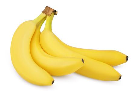 Four ripe bananas isolated on white background  photo