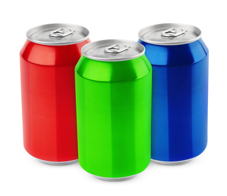 Group of aluminum 330ml cans isolated on white background photo