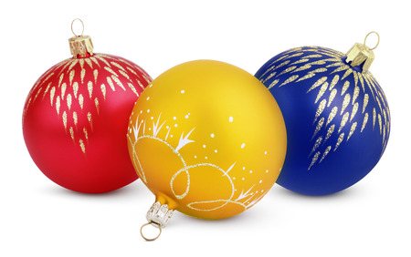 Christmas decorations - colorful balls isolated on white  photo