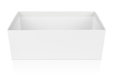 Open shoe box isolated on white with clipping path photo