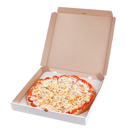 Delicious italian pizza in cardboard box isolated on white  photo