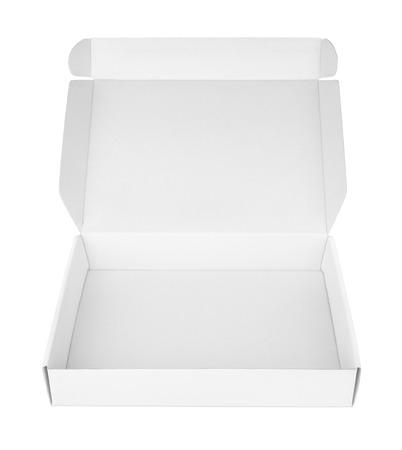 caja de pizza: Abra la caja de la pizza de cart�n blanco aislado en blanco con trazado de recorte Foto de archivo