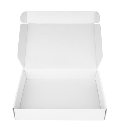 FOOD BOX: Open blank carton pizza box isolated on white with clipping path Stock Photo