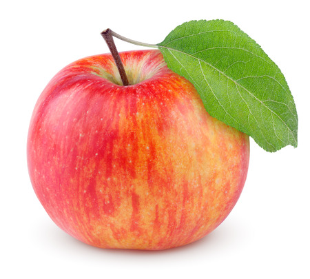 Red yellow apple with green leaf isolated on white background