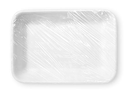 クリッピング パスと白で隔離ラップされた食品トレイ 写真素材