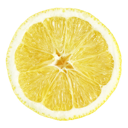 Slice of lemon fruit isolated on white with clipping path