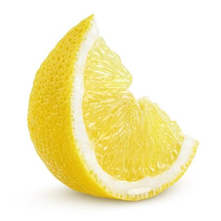 흰색 배경에 고립 된 레몬 과일의 조각