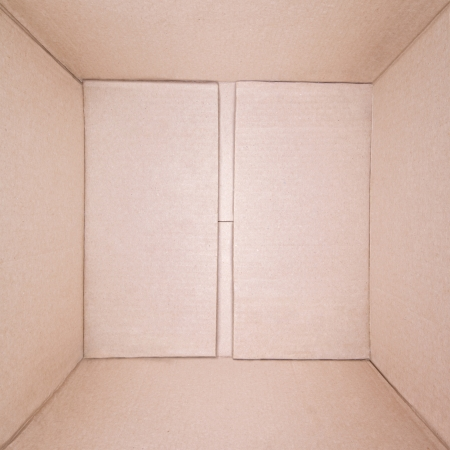 corrugated box: Top view of empty brown cardboard square box
