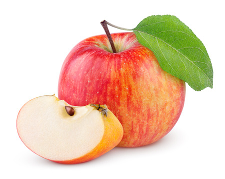 Red yellow apple with green leaf and slice isolated on white background Standard-Bild