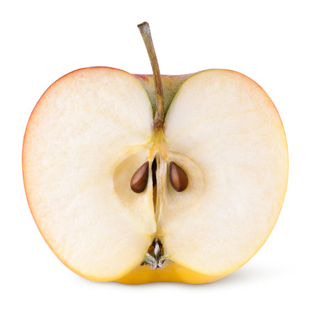 apple core: Closeup of red yellow apple half isolated on white with clipping path Stock Photo