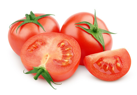 Sliced red tomato vegetable isolated on white with clipping path photo