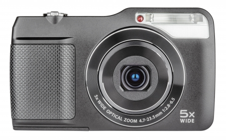 Digital compact camera with open lens isolated on white with clipping path photo