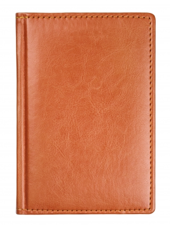 Brown leather diary book cover isolated on white  photo