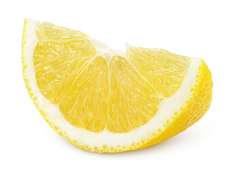 Slice of lemon fruit isolated on white background photo