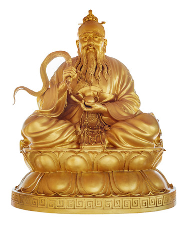 Founder of Taoism - Laozi  Lao Tzu  in Chinese Temple Viharn Sien, Chonburi, Thailand  Statue isolated on white with clipping path Stock Photo