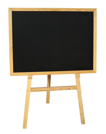 Small empty black wooden blackboard isolated on white with clipping path photo