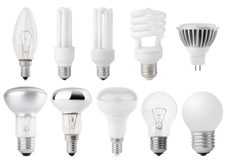 Set of Light bulbs isolated on white photo