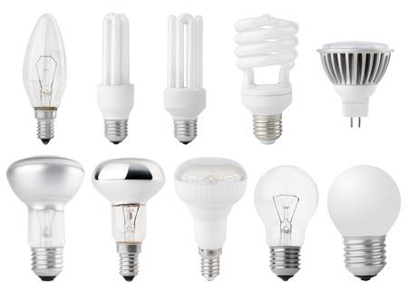 Set of Light bulbs isolated on white Stock Photo