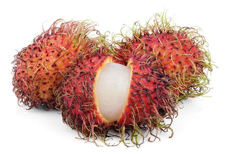 rambutan: Open rambutan fruits isolated on white