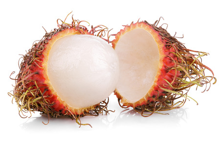 Opened rambutan fruit isolated on white  photo