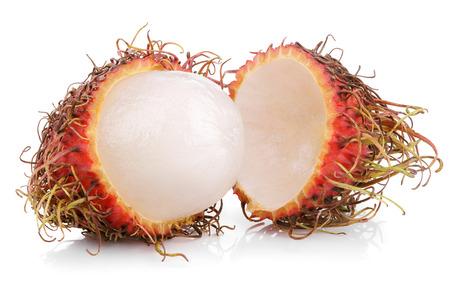 rambutan: Opened rambutan fruit isolated on white