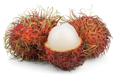 Open rambutan fruits isolated on white  photo
