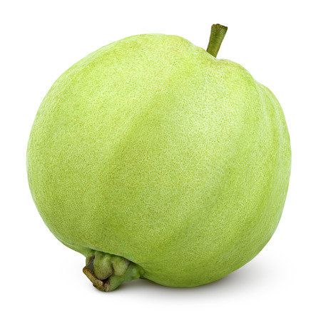 guava: Single green guava isolated on white Stock Photo