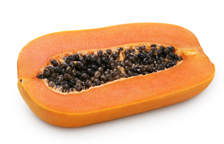 papaw: Half of papaya fruit isolated on white with clipping path