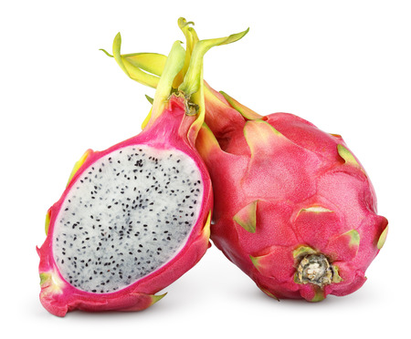 Dragon fruit or pitaya with half isolated on white background with clipping path photo