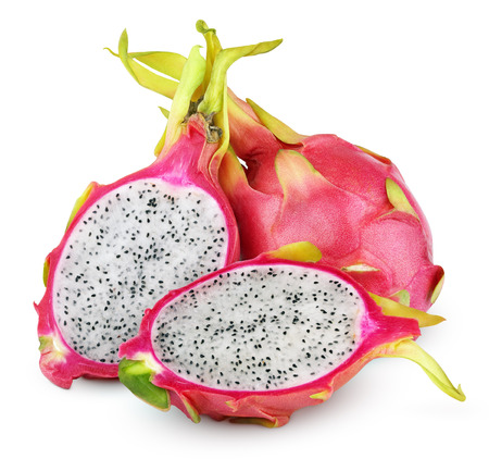 dragon: Dragon fruit or pitaya with cut isolated on white background with clipping path Stock Photo