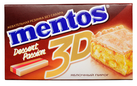 Chewing gum Mentos 3D Dessert Passion made by Perfetti Van Melle isolated on white with clipping path