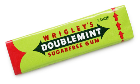 Doublemint chewing gum made by Wrigley isolated on white with clipping path Editöryel