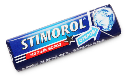 adams: Stimorol chewing gum made by Mondelez International, Cadbury Adams isolated on white with clipping path