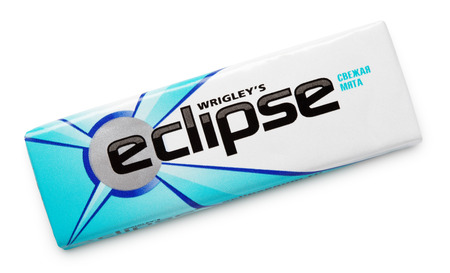 chewing gum: Eclipse chewing gum made by Wrigley isolated on white with clipping path Editorial