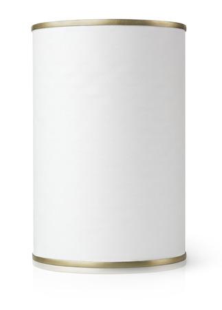 White Blank Metaal blikje geïsoleerd op wit met clipping path