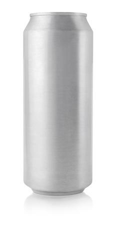 Vue du haut de 500 ml de bière en aluminium peut isolé sur blanc Banque d'images