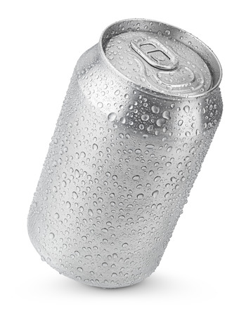 330 ml aluminum soda can with water drops isolated on white photo