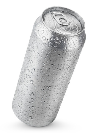 500 ml aluminum beer can with water drops isolated on white 版權商用圖片