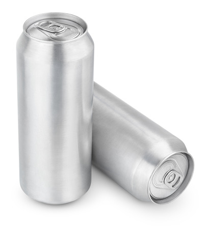 Two 500 ml aluminum beer cans isolated on white photo