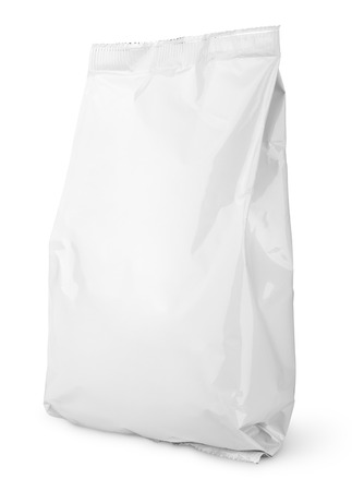 packing: Blank Snack bag package isolated on white with clipping path Stock Photo