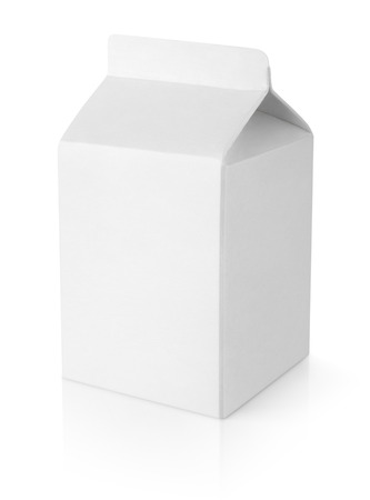 Blank milk carton package isolated on white background with clipping path photo